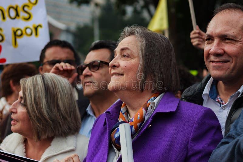 18 de marzo de 2019 - marzo para la defensa del PEC, jurisdicción especial para el ¡Colombia de Bogotà de la paz imagenes de archivo