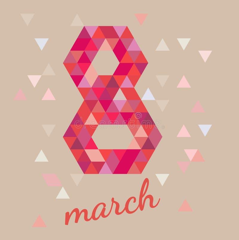8 de marzo postal Diseño del día de las mujeres s, gráfico del polígono del ejemplo EPS 10 del vector libre illustration