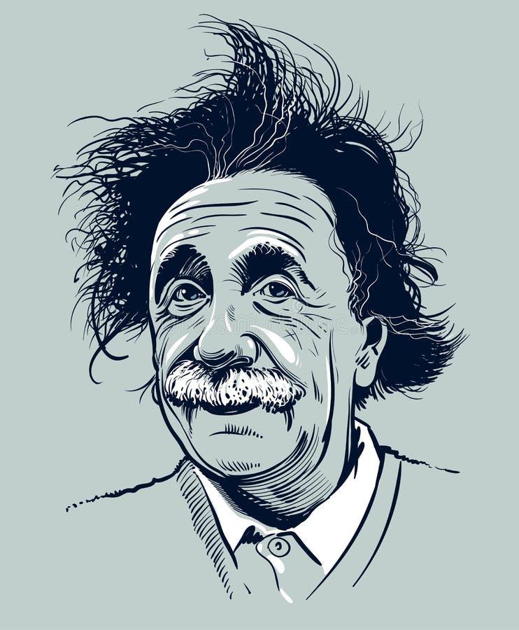 20 de marzo de 2018: Retrato de Albert Einstein Uso editorial solamente stock de ilustración