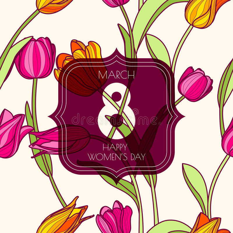 8 de marzo tarjeta de felicitación, el día de las mujeres internacionales stock de ilustración