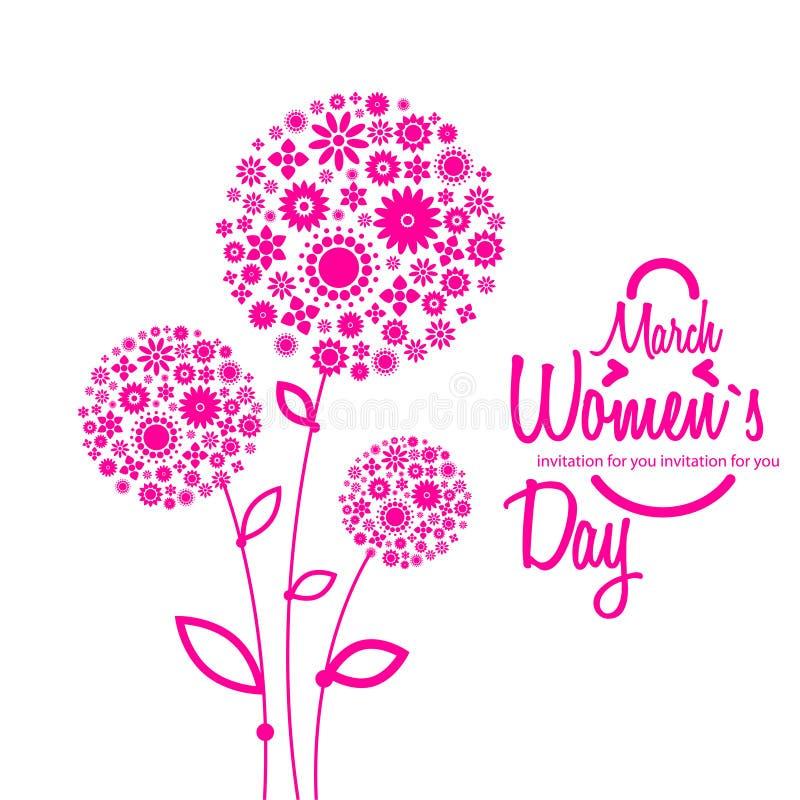 8 de marzo tarjeta de felicitación Fondo para el día de la mujer libre illustration