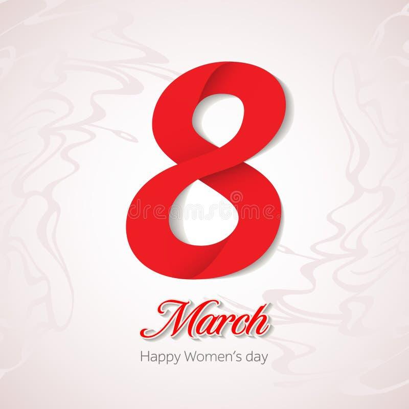 8 de marzo tarjeta de felicitación Plantilla de la bandera para el día de la mujer internacional libre illustration