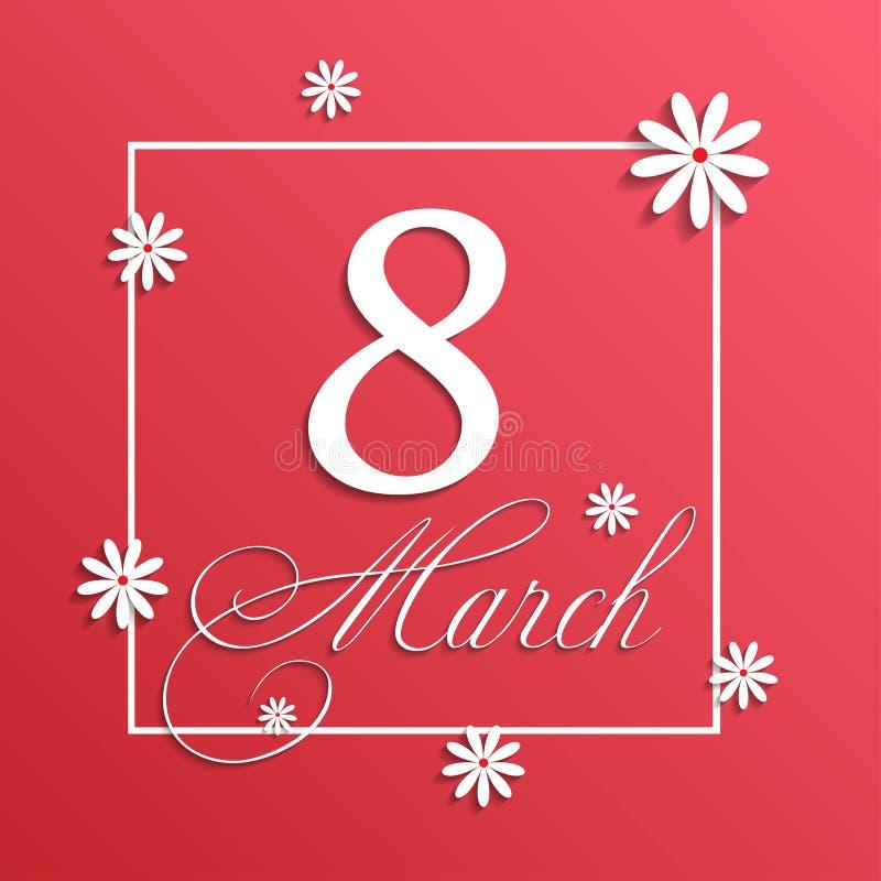 8 de marzo tarjeta de felicitación Plantilla del fondo para el día de la mujer internacional imagen de archivo libre de regalías