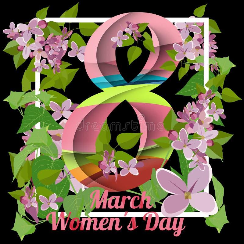 8 de marzo tarjeta de felicitación Plantilla para el día internacional del ` s de las mujeres ilustración del vector