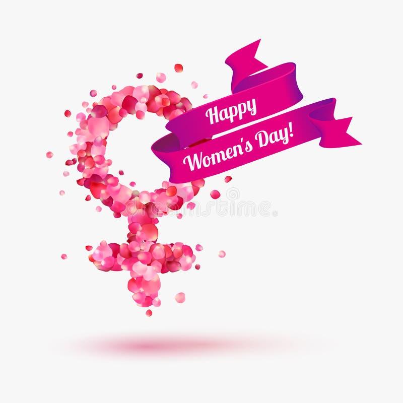 8 de marzo tarjeta de la enhorabuena ¡Día feliz del ` s de la mujer! ilustración del vector