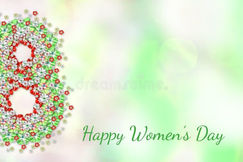 8 de marzo tarjeta de felicitación con las flores verdes rojas en fondo ligero Cartel abstracto de la primavera Día feliz del ` s ilustración del vector