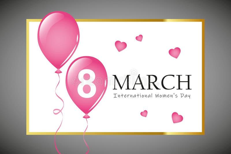 8 de marzo tarjeta de felicitación del día de la mujer internacional con los globos rosados ilustración del vector