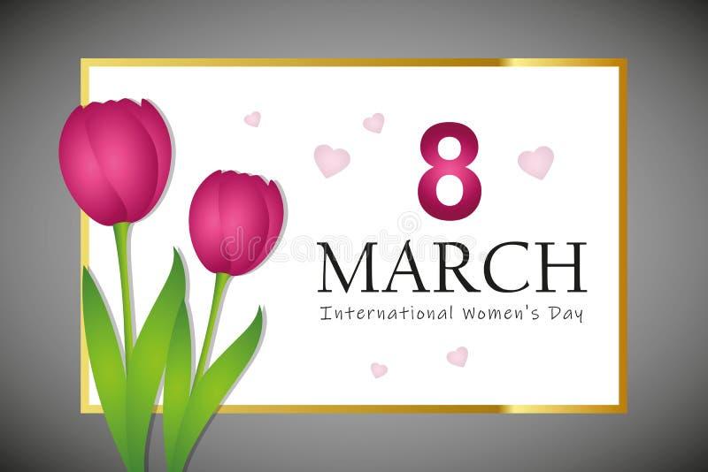 8 de marzo tarjeta de felicitación del día de la mujer internacional con los tulipanes rosados ilustración del vector