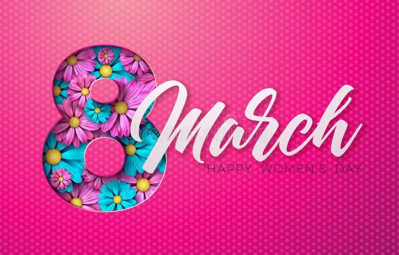8 de marzo Tarjeta de felicitación floral del día para mujer feliz Ejemplo internacional del día de fiesta con diseño floral en f stock de ilustración