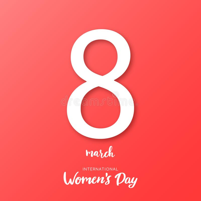 8 de marzo Tarjeta de felicitación internacional del día del ` s de las mujeres ilustración del vector