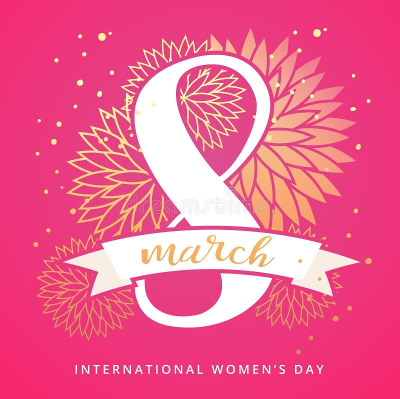 8 de marzo tarjeta de felicitación internacional del diseño del día del ` s de las mujeres con las letras manuscritas y el orname ilustración del vector