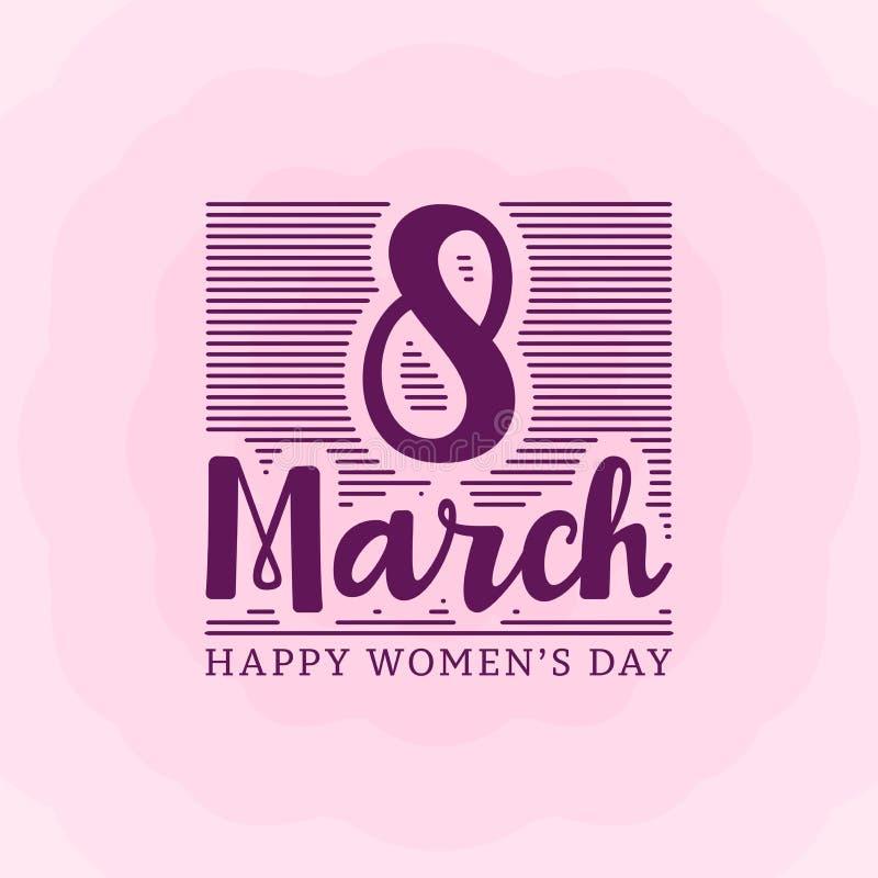 8 de marzo tarjeta de felicitación de las letras del día de la mujer feliz con la línea Ilustración del vector ilustración del vector