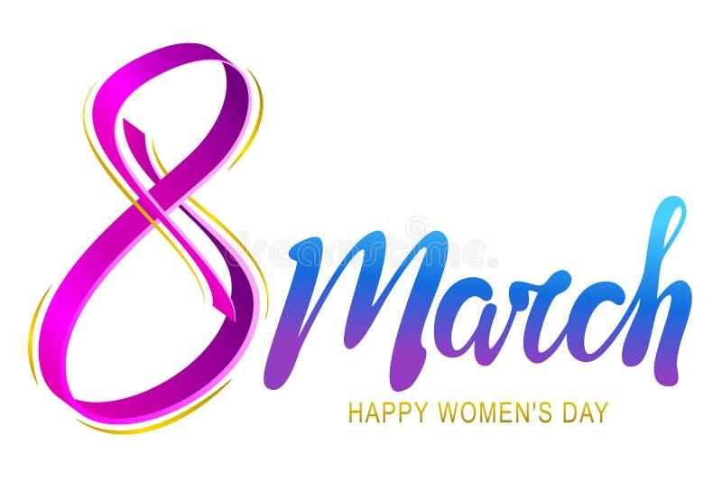 8 de marzo tarjeta de felicitación de las letras del día de la mujer feliz libre illustration