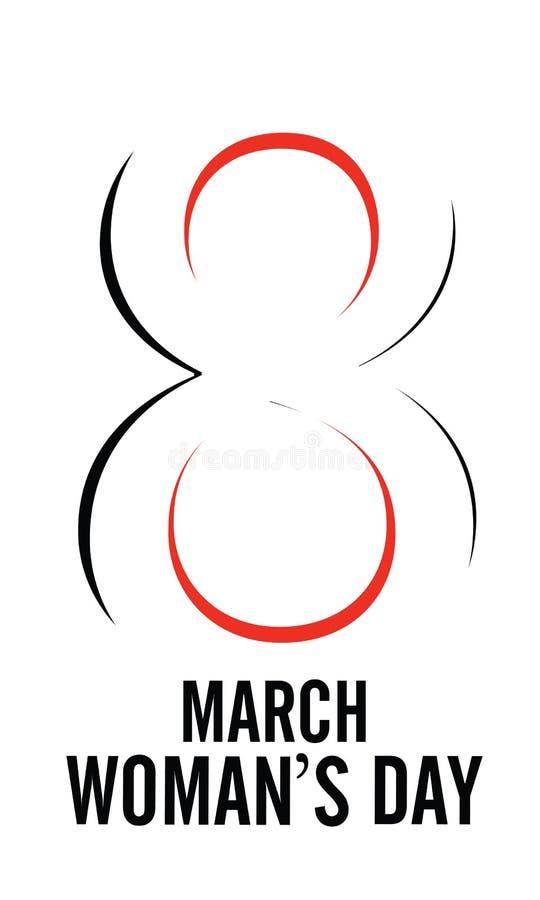 8 de marzo tarjeta de felicitación de las letras del día de la mujer feliz Vector del ejemplo EPS1- del vector stock de ilustración