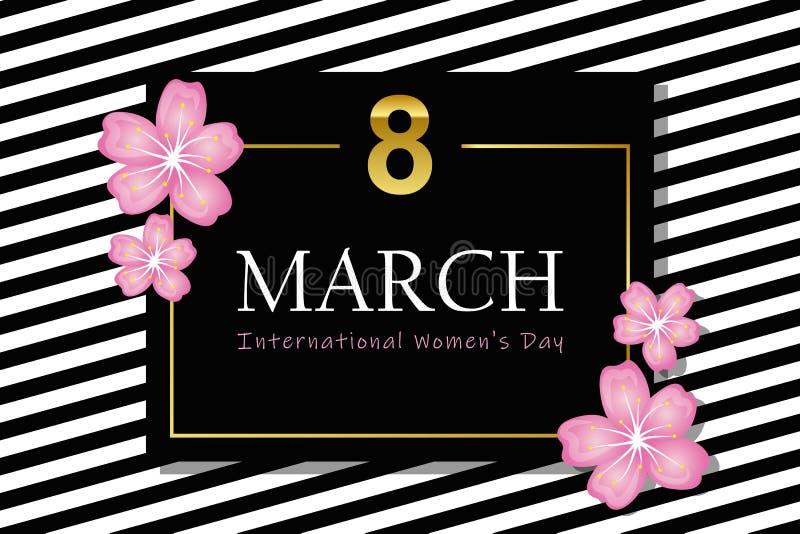 8 de marzo tarjeta rayada blanco y negro del día de la mujer internacional con la flor de cerezo libre illustration