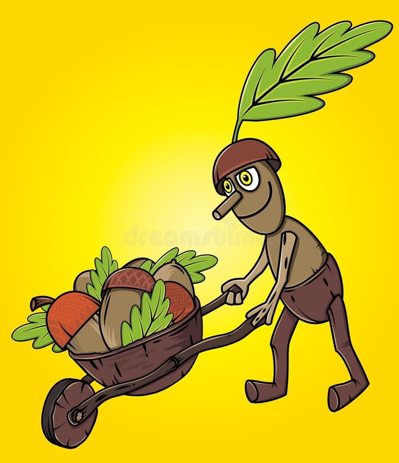 De mascotte duwende stootkar van de beeldverhaal eiken boom met de bladerenseizoen van de accornsherfst vector illustratie