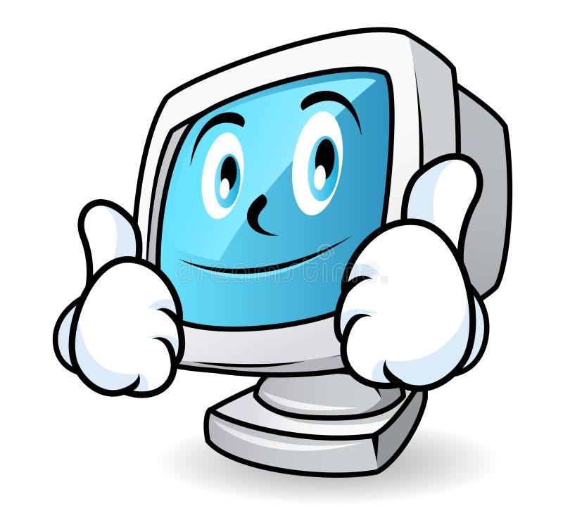De mascotte van de computer - duimen omhoog vector illustratie