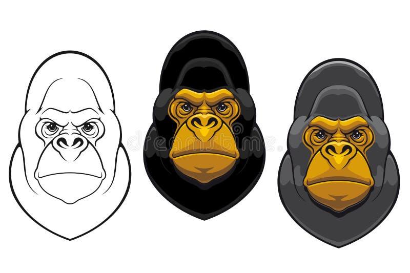 De mascotte van de de gorillaaap van het gevaar stock illustratie