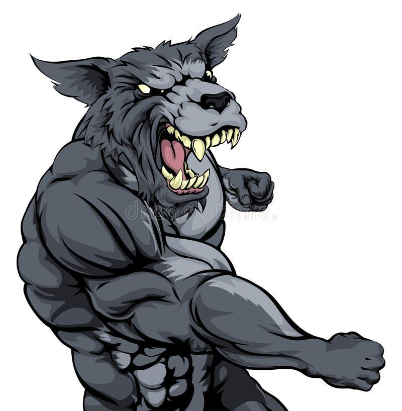 De mascotte van de ponsenwolf royalty-vrije illustratie