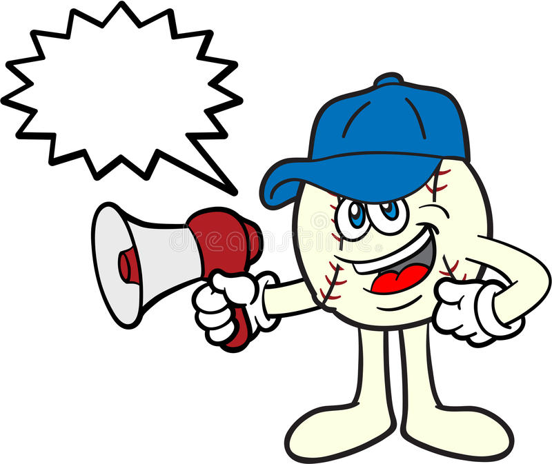 De Mascotte van het Beeldverhaal van het honkbal met een Megafoon royalty-vrije illustratie