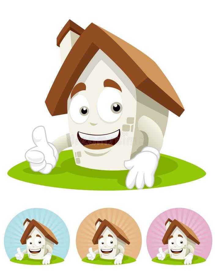 De Mascotte van het Beeldverhaal van het huis - duim omhoog royalty-vrije illustratie