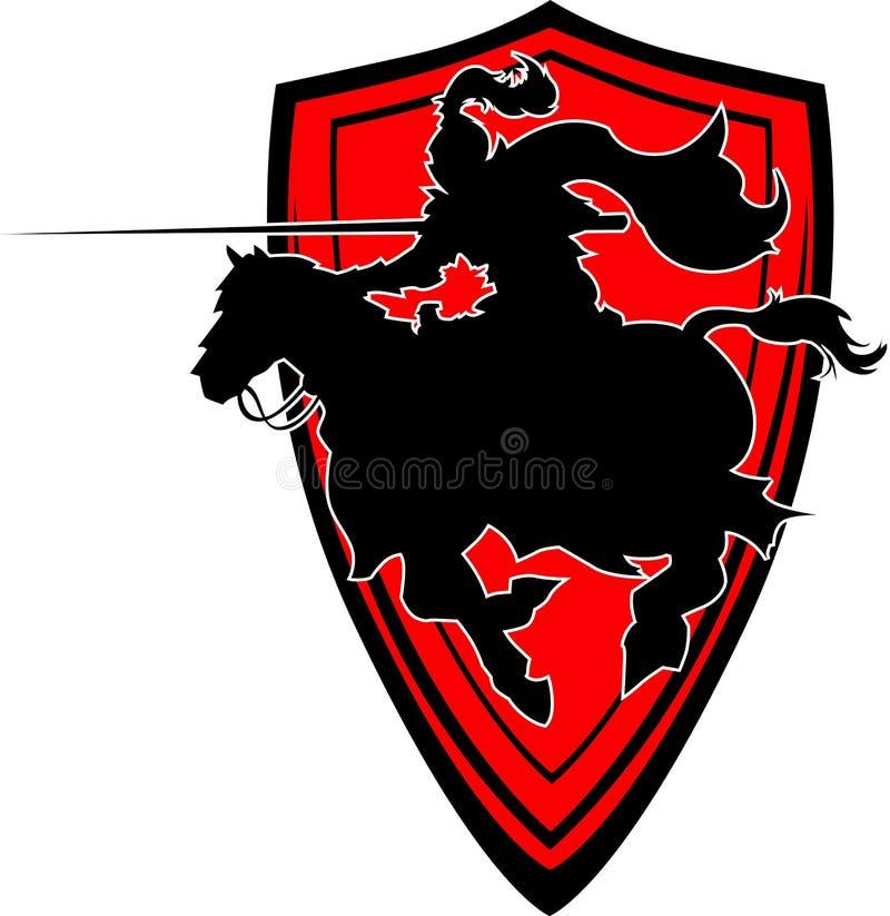 De Mascotte van het Silhouet van de Ridder van Jousting op Paard vector illustratie
