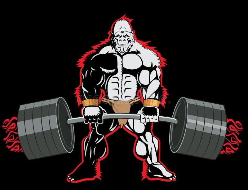 De Mascottekarakter van de bodybuilderaap met een Barbell in Zijn Handen stock illustratie