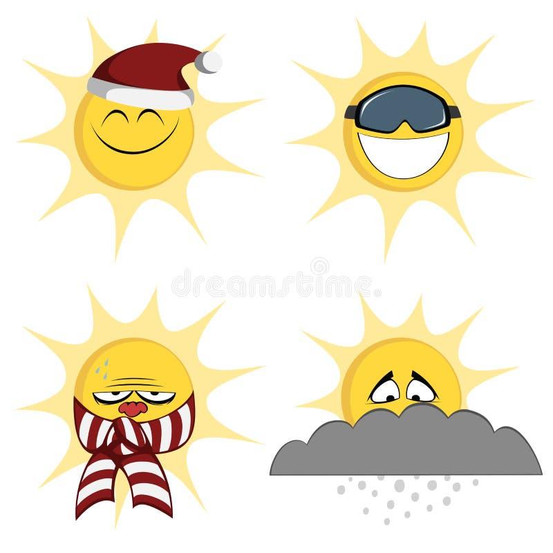 De Mascottes van de de winterzon vector illustratie