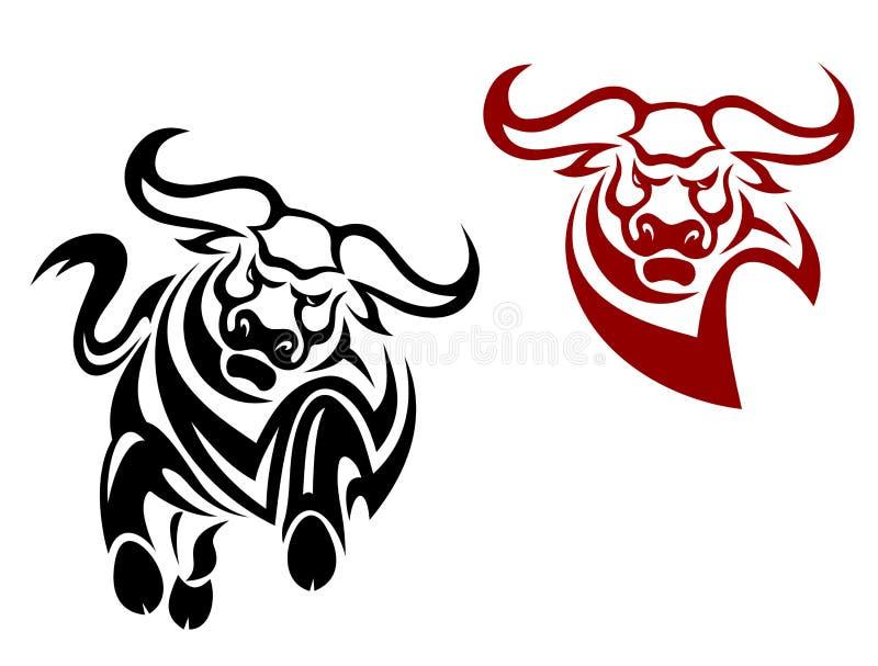 De mascottes van de stier en van buffels vector illustratie