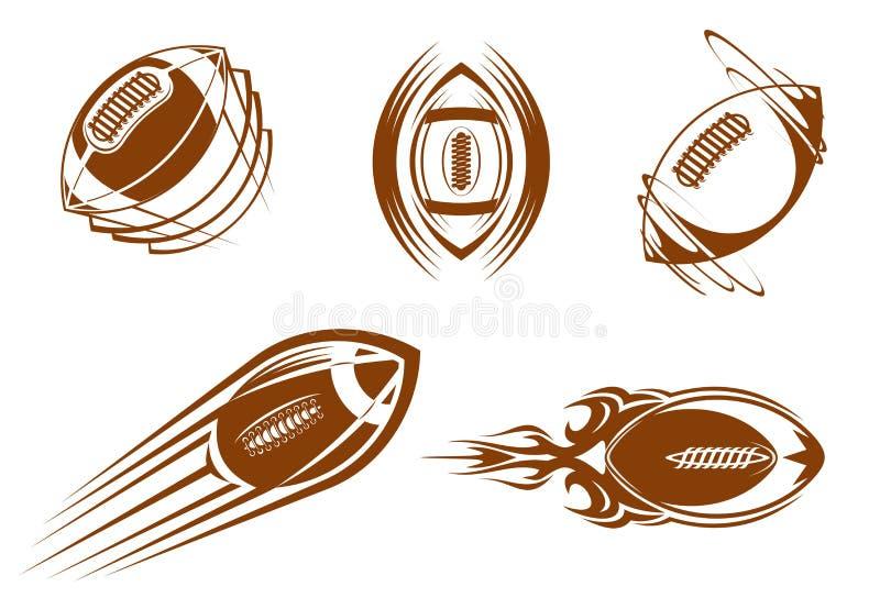 De mascottes van het rugby en van de voetbal stock illustratie