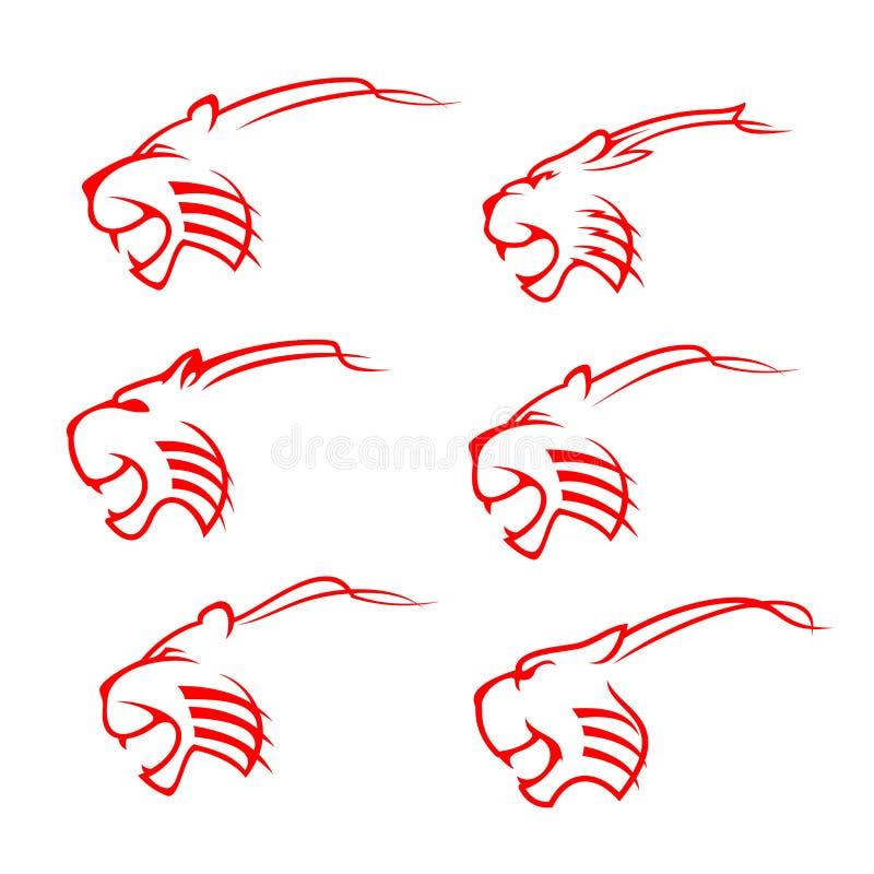 De mascottesilhouet van de tijger dierlijk wild kat royalty-vrije illustratie