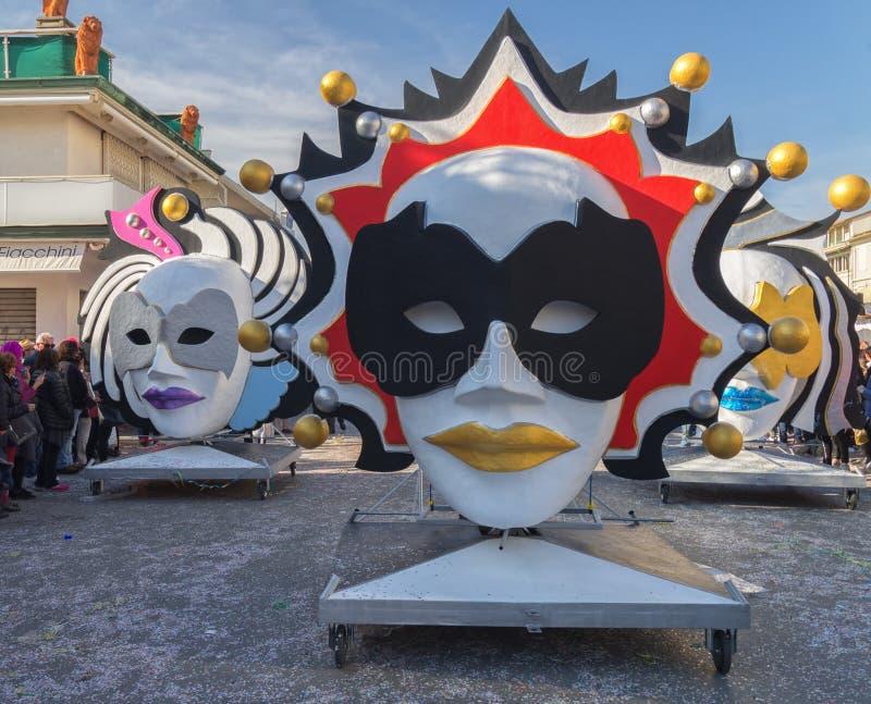 De maskers, het hart van Viareggio Carnaval, Toscanië, Italië stock foto