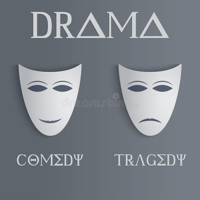 De maskers van de komedie en van de tragedie stock illustratie