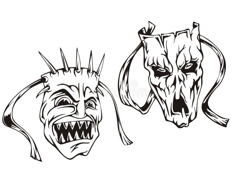 De maskers van de verschrikking royalty-vrije illustratie