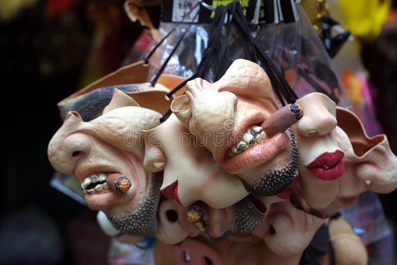 De maskers van Halloween stock foto's