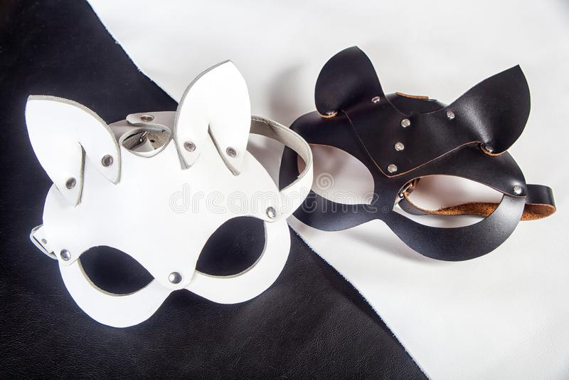 De maskers van het close-upleer royalty-vrije stock fotografie