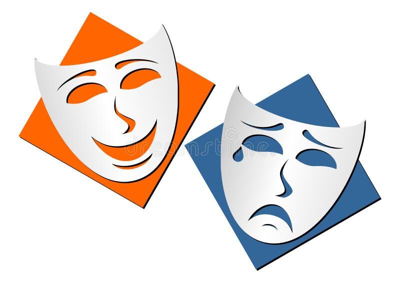 De maskers van het theater stock illustratie