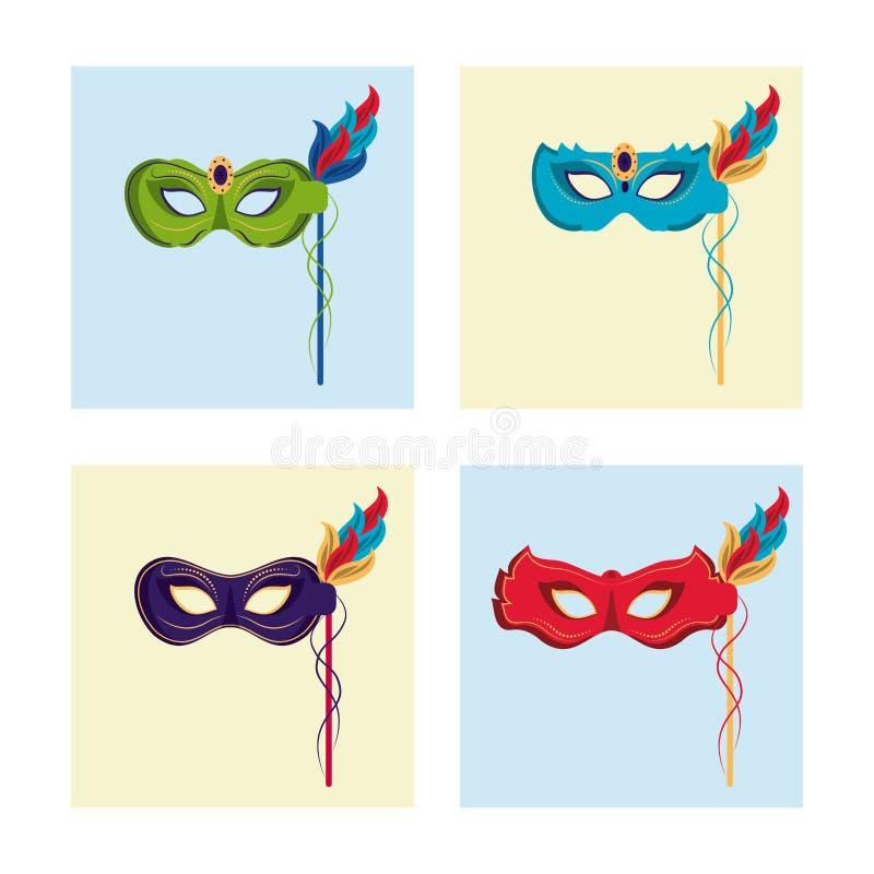 De maskerspictogrammen van Mardigras royalty-vrije illustratie