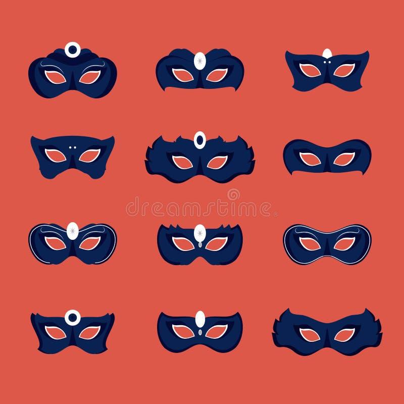 De maskerspictogrammen van Mardigras stock illustratie