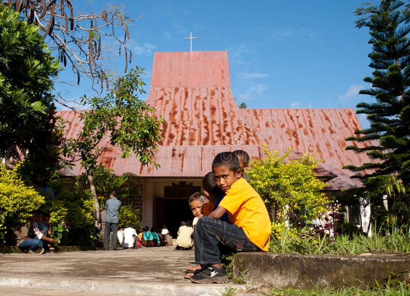 De Massa van de zondag in een dorp van Indonesië royalty-vrije stock foto