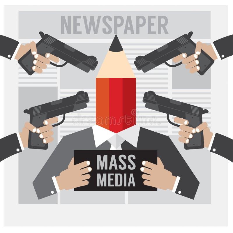 De Massamedia is de Gijzelaar stock illustratie