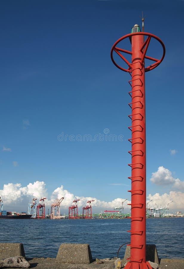 De Mast van het signaal bij Container Kaohsiung stock afbeelding