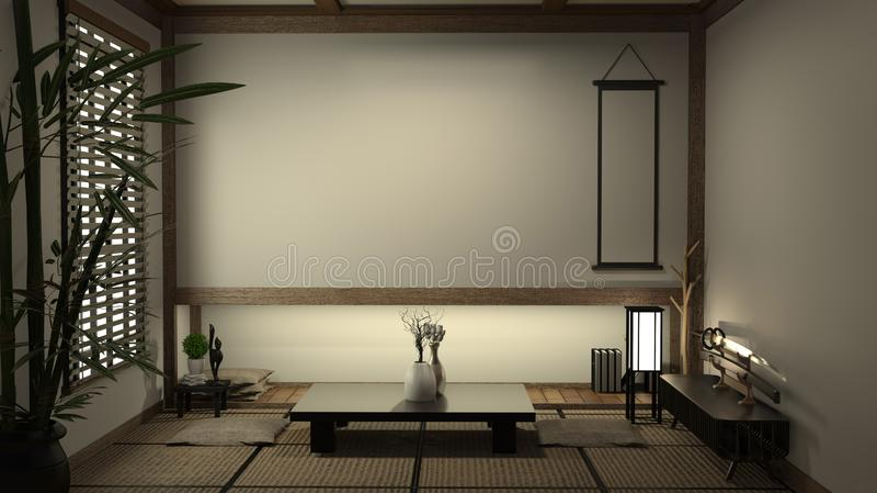 De mat van de woonkamertatami van Japan en traditionele Japanse decoratie, Japanse stijl het 3d teruggeven stock illustratie