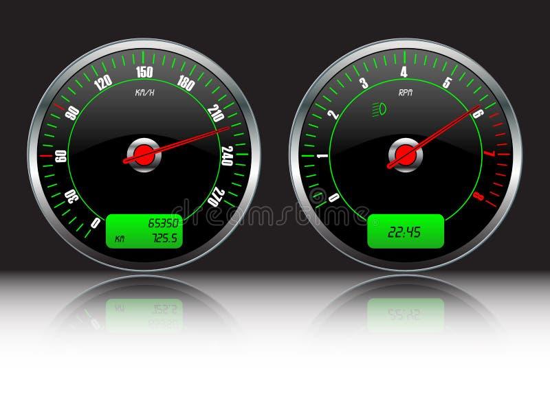 De maten van het autodashboard vector illustratie