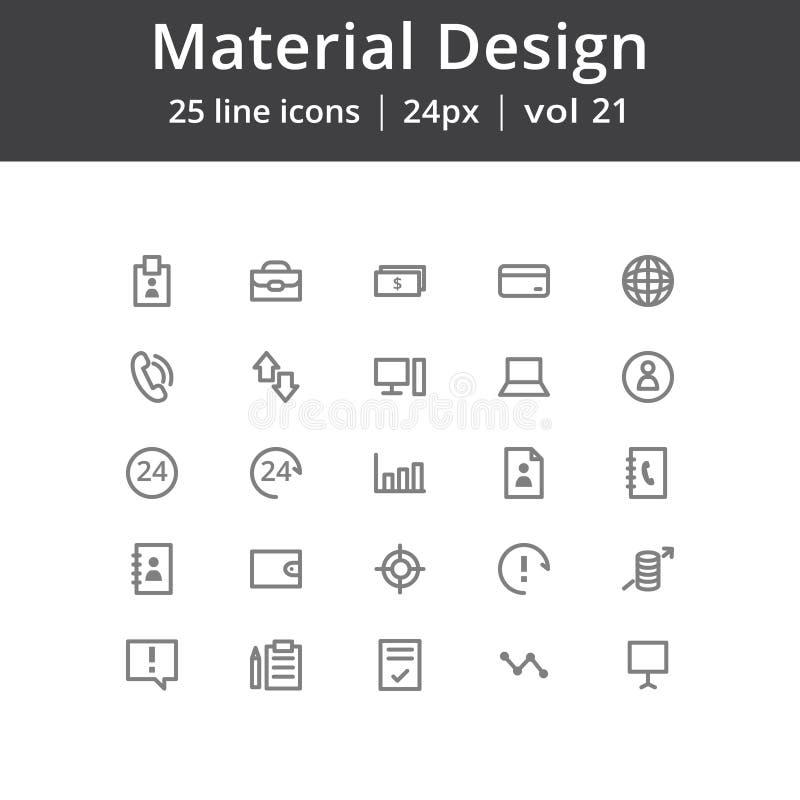 De materiële Pictogrammen van het Ontwerpgebruikersinterface vector illustratie