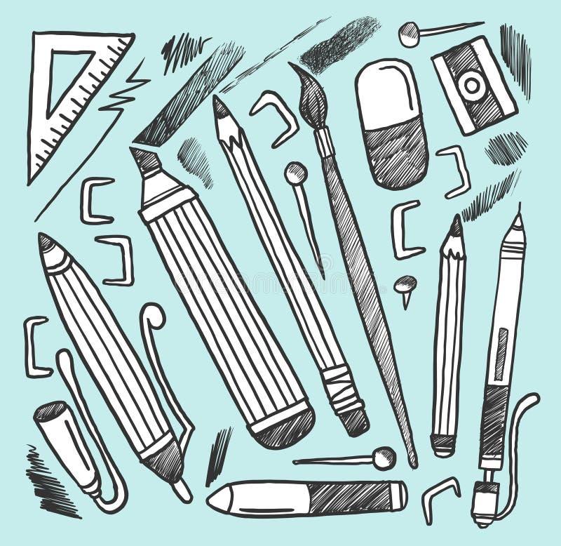 De materialen van de tekening stock illustratie