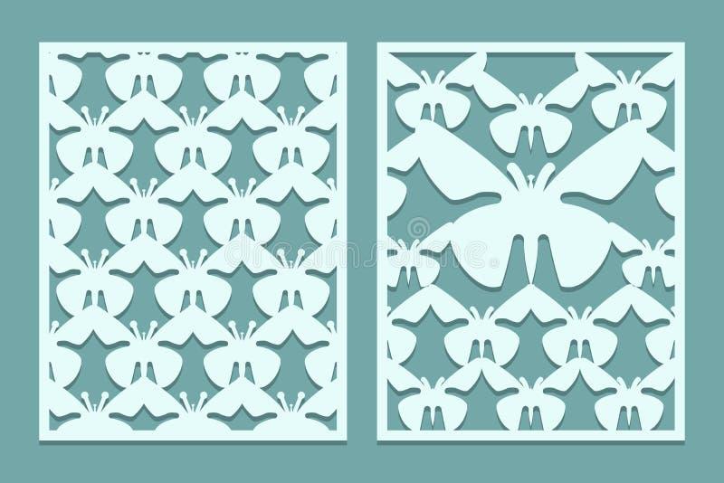 De matrijs en de laser snijden de overladen patronen van kantpanelen met vlinders Reeks referentiesmalplaatjes Het paneel van het stock illustratie