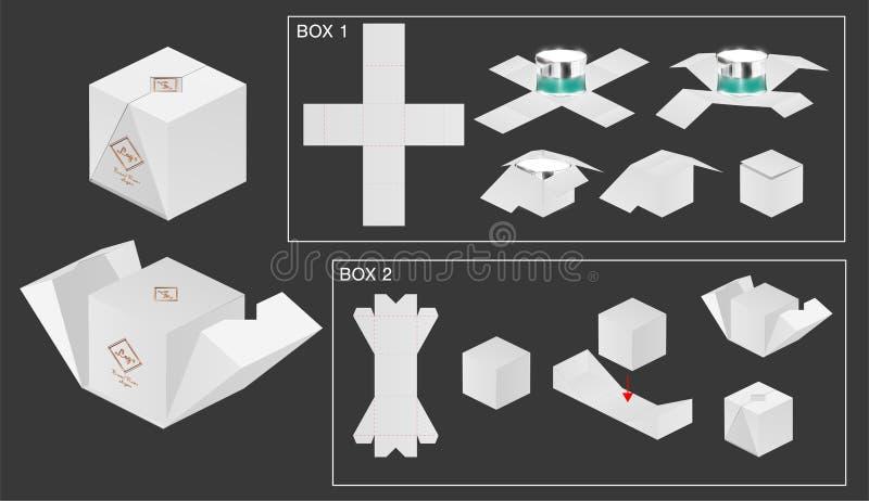 De matrijzenbesnoeiing van de pakketdoos met 3d omhoog spot royalty-vrije illustratie