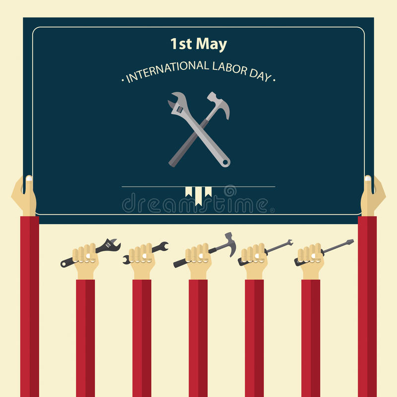 1 de mayo cartel internacional del Día del Trabajo Herramientas de tenencia de la mano del trabajador stock de ilustración
