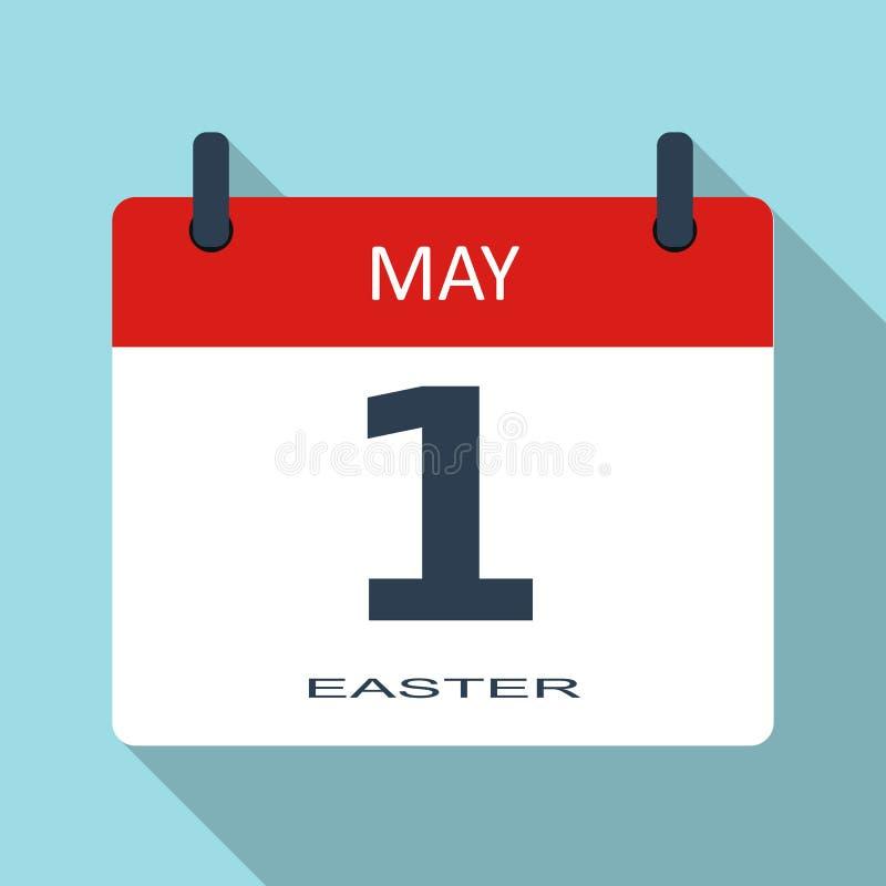 1 DE MAYO Día de los trabajadores Icono plano del calendario diario del vector Fecha y hora, mes holiday Si simple moderno stock de ilustración